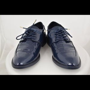 Zara Navy Patent Leather Oxford Shoes